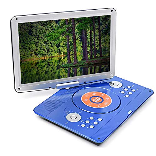 16 Inch Portable DVD Player,Rotatable Screen Multi Media DVD Support MP3 MP4 VCD CD Player for Game TV Function Home and Car,Blue
