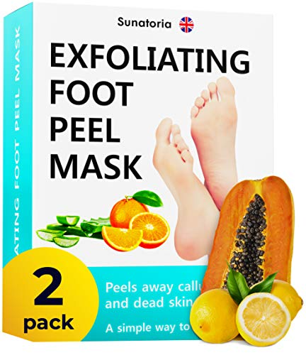 Foot Peel Mask - 2021 Dermatologically Tested - 2 Pack (Pairs) Exfoliating Foot Mask - Makes Feet Baby Soft by Peeling away Calluses & Dead Skin Remover by SUNATORIA - 2021 Updated Formula