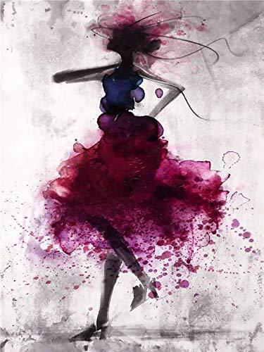 JHGJHK Pintura de Tinta nórdica Pintura al óleo Abstracta decoración de la Sala de Estar Vestido Colorido Imagen artística impresión Dormitorio de niña (Imagen 3)