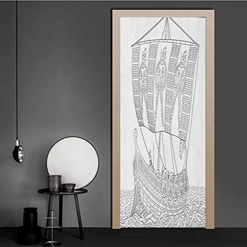 Homesonne Wall Stickers Stylized Ancient Greek Galley Cruising on Swirled Waves Doodle Illustration Vinyl Removable 3D Decals for Living Room Bedroom Art Decoration Black White 81.3x203.2 CM