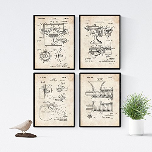 Nacnic Vintage - Pack de 4 Láminas con Patentes de Cocina. Set de Posters con inventos y Patentes Antiguas. Elije el Color Que Más te guste. Impreso en Papel de 250 Gramos de Alta Calidad