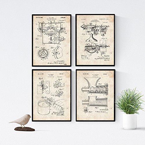 Nacnic Vintage - Pack de 4 Láminas con Patentes de Cocina. Set de Posters con inventos y Patentes Antiguas. Elije el Color Que Más te guste. Impreso en Papel de 250 Gramos