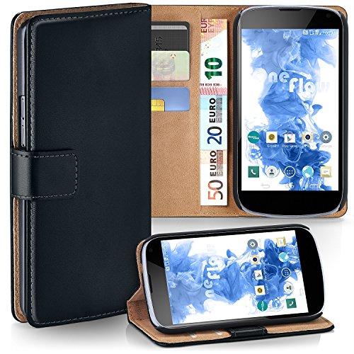 MoEx® Funda Cartera [protección 360°] Compatible con LG Google Nexus 4 | Cierre magnético, Noir