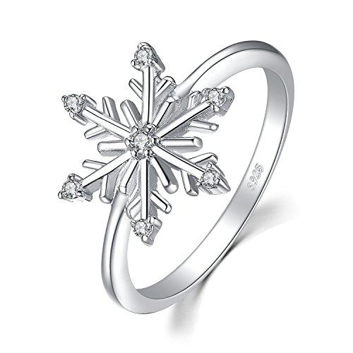 JewelryPalace Elegante Copo de nieve Zirconia Cúbica Anillo Plata de ley 925