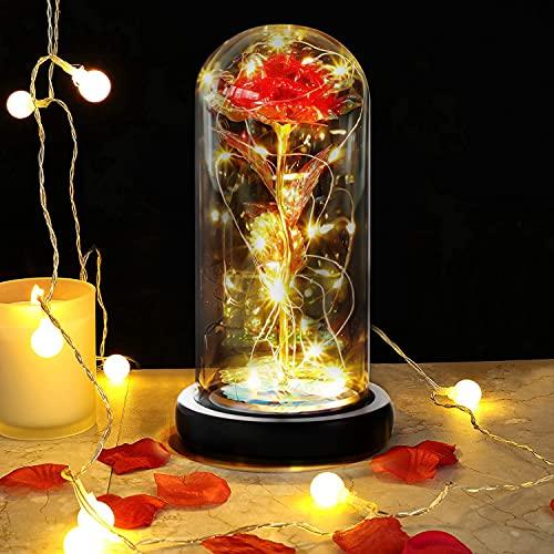 DASIAUTOEM Rose Eternelle sous Cloche, La Belle et la Bête Rose Eternelle, Rose Galaxy Dôme en Verre Fleur Artificielle avec Lumières LED pour Saint Valentin Fête des Mères Anniversaire Décoration
