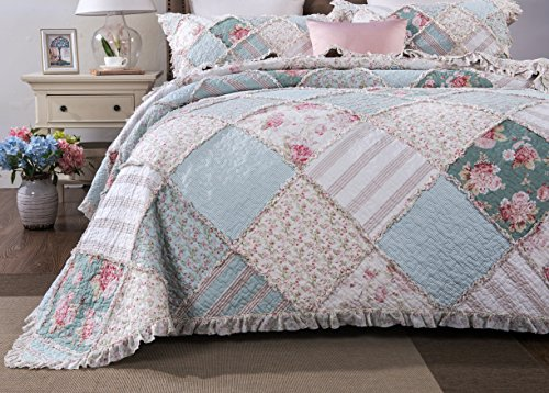 DaDa Bedding Cottage Patchwork Cotton Bedspread Quilt Set - Hint of Mint Dainty Quilted Floral Botanical - Multi Colorful Ruffle Muted Pastel Pink Blue/Green - Cal King - 3-Pieces