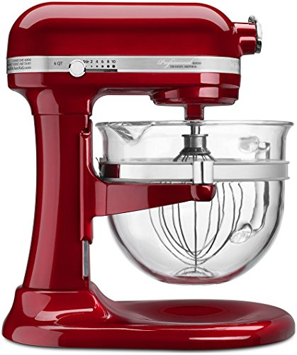KitchenAid 6500 Series Candy Apple Red Stand Mixer with Glass Bowl, 6 qt.