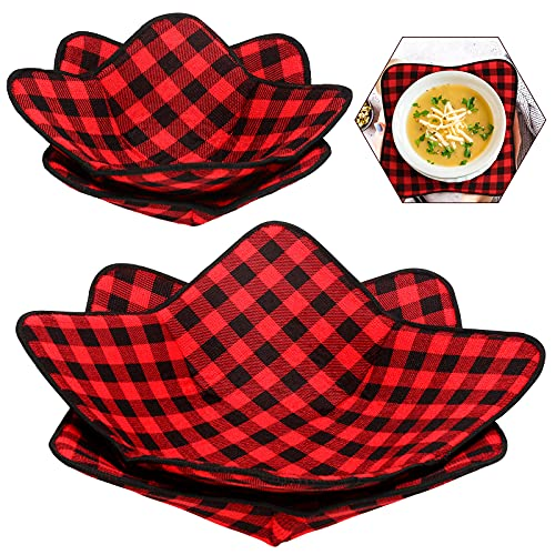 4 Pieces 2 Sizes Bowl Huggers Sponge and Microfiber Small Bowls Large Bowls Holder for Microwave...