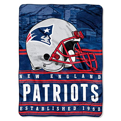 """Elma Banju Officially Licensed NFL New England Patriots Stacked Silk Touch Throw Blanket, 60"""" X 80"""", Multi Color 48x60IN"""