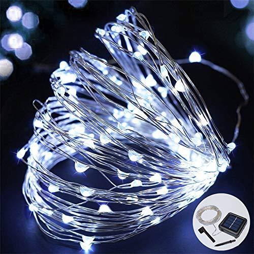 Sunboia Solar Lichterkette,100 LED Solar Lichterkette Weihnachten,Solar Silberdraht Lichterketten,Garten Außen,LED Lichterkette für Party,Weihnachten,Halloween,Fest Deko usw-weiß