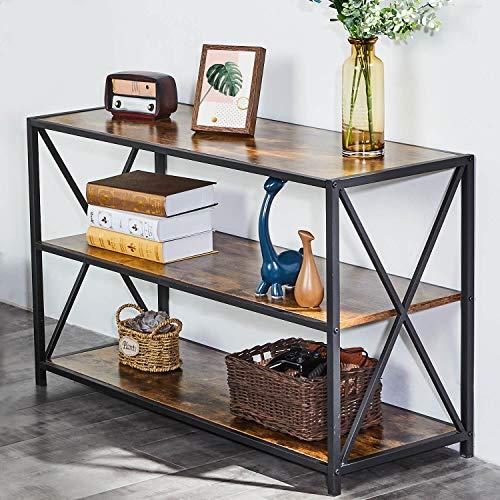 EPHEX Konsolentisch Fernsehtisch im Industrie-Design, Beistelltisch Dual-X Metallrahmen Flurtisch, 108 x 40 cm Wohnzimmer, Eingangsbereich, Vintage Dunkelbraun
