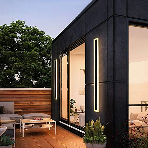Moderno LED Terraza exteriores Lámpara de pared impermeable negro Aplique de pared Metal Acrílico Barra de luz larga 3000K Iluminación de pared Baño Sala de estar Escalera Iluminación exterior (60CM)
