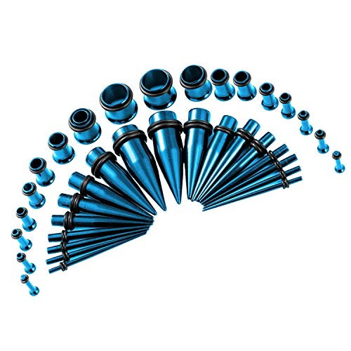 36pcs 14G-00G Ear Stretching Kit Stainless Steel Tapers & Tunnels 9 Gauges for Ears Beginners Expander Set for Men Women Body Piercing Jewelry(Blue)