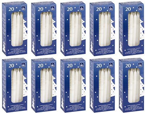 200 selbstlöschende Baumkerzen, 124 x 12 mm, Weiß, handgetauchte Qualität