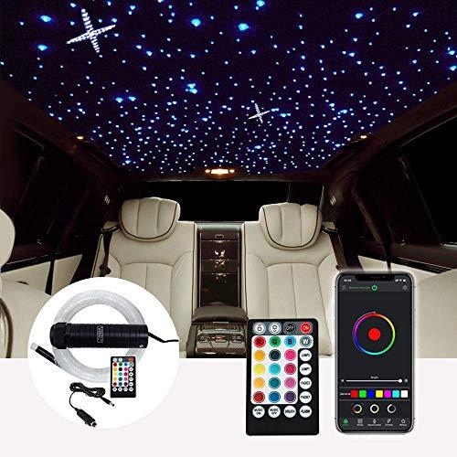Wghz DC12V 6W RGB Autodach Sternlichter LED Fiber Optic Star Deckenleuchten-Kits 2M 0,75 mm 100~380 Stück Glasfaser mit HF-Steuerung Autodekorationslicht