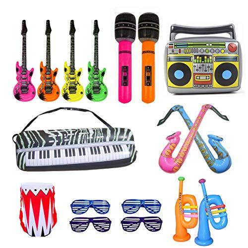 ANBET 17 UNIDS Globo de Instrumentos Musicales Inflables Rock Star Toy Set Kid Favores de Fiesta Suministros Accesorios Música Decoración Accesorios