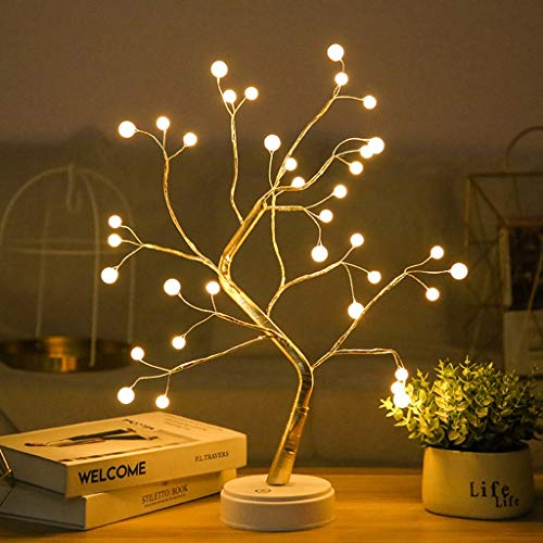 Lámpara de Mesa de Árbol de Flores, DIY Luz de Hadas Artificial DIY, Árbol de Alambre de Cobre LED, USB o Alimentado Por Batería, para Dormitorio Luces Nocturnas para Niños (Color : Pearl)