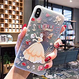 Gentra Lovely Snow White Cinderella Rapunzel Mermaid Princess Soft TPU Back Case for iPhone Xs Max XR X 7 8 Plus Cute Cartoon Case (st2, for iPhone XR)