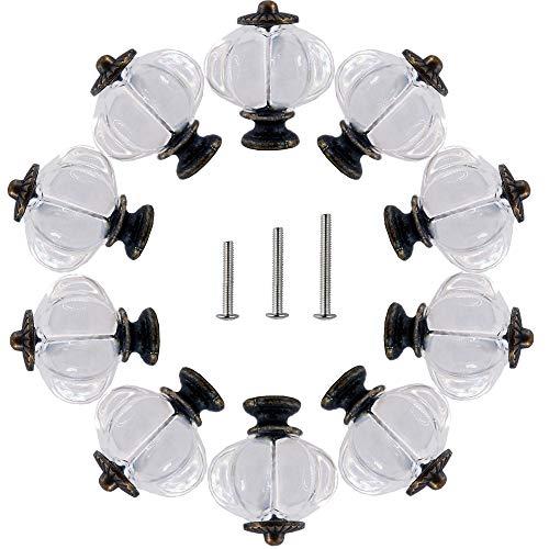 Perphin - Pomos de clóset de 10 tiradores decorativos para armario, armario, cajones, aparador, muebles de cocina o habitación de niños con 3 tornillos de tamaño