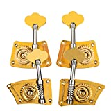 Fesjoy Double Bass Tuning Pegs, Double Bass Single Tuning Pegs Tuner Machine Heads 2 Left 2 Right for 4/4 3/4 Double Bass