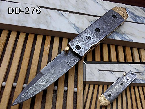 Damascus Steel Folding Knife, Hand Forged Hand Crafted Damascus Steel Blade and Scale, Crafted with Engraved Brass on Edge, Come with Cow Hide Leather Sheath