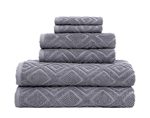 Classic Turkish Towels Luxury 6 Piece Cotton Bath Towel Set - Jacquard Woven Soft Textured Towels Made with 100% Turkish Cotton (Grey)