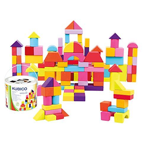 Mertens Klötzchen-Trommel mit 100 Stück, Kinderspielzeug ab 1 Jahr (farbenfrohe & formenreiche Bauklötze, inklusive 100 Stück, Größe: XL, Formbeispiele zur Anregung im Deckel), Mehrfarbig