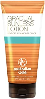 Australian Gold Gradual Sunless Tanning Lotion, Rich Bronze Color with Fade Defy Technology, Energizes & Softens Skin, 6 Ounce