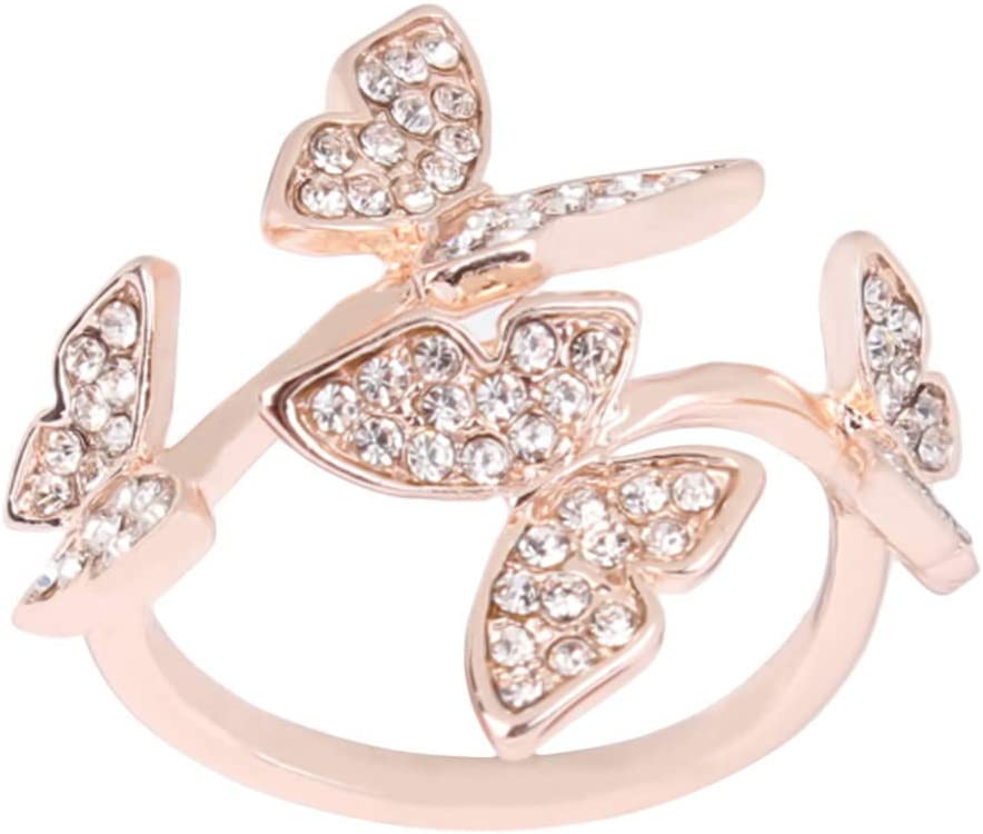 LIUCM Adjustable Butterfly Ring Female Index Finger Middle Finger Open Ring for Women Jewelry Gifts(Rose Gold)