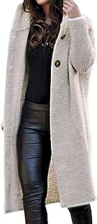 Beige,S Cloodut Damen Winter Elegante Gestrickte Strickjacke Outwear Lange Verdicken Cardigan Strickmantel mit Kapuzen Winterjacke Pullover Pulli Offener Ausschnitt
