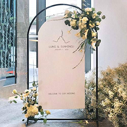 XSWL Round Wedding Arch, DIY Curved Arches Background Decorative Frame, Outdoor Garden Lawn Backyard, Weddings Black