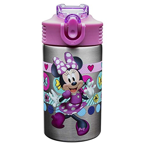 Zak Designs Disney Minnie's Happy Helpers - Stainless Steel Water Bottle with One Hand Operation Action Lid and Built-in Carrying Loop, Kids Water Bottle with Straw Spout (15.5 oz, 18/8, BPA Free)