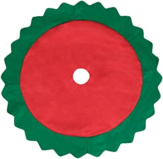 Clever Creations Red and Green Christmas Tree Skirt Red Cover with Wavy Cut Green Border | Traditional Theme Festive Holiday Design | Helps Contain Needle and Sap Mess on Floor | 32