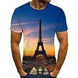 HGFHKL Torre de construcción de la Ciudad de Verano Impresión 3D Camiseta Divertida Casual Diaria con Cuello Redondo de Verano