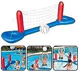KACC Jeu Gonflable Piscine Volley - Jeu de Plein air Flottant Piscine Plage, Filet de Volley-Ball Aquatique Parent-Enfant 244CM * 64CM(y Compris Volley-Ball)