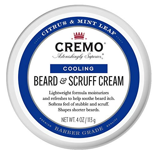 Cremo Citrus Mint Leaf Cooling Beard and Scruff Cream, Moisturizes, Styles and Reduces Beard Itch for All Lengths of Facial Hair, 4 Oz, 1 Count