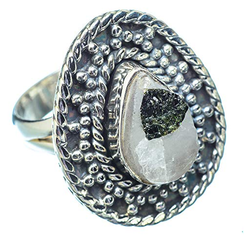 Ana Silver Co Rough Green Tourmaline In Quartz Ring Size N 1/2 (925 Sterling Silver)