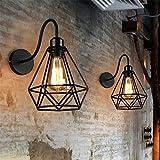 Retro Lámpara de pared Metal Apliques de Pared E27 Industria Rústico Creatividad Hierro Luz de Pared para Dormitorio Sala Comedor Restaurante Escalera Loft Decoración, 2 Piezas