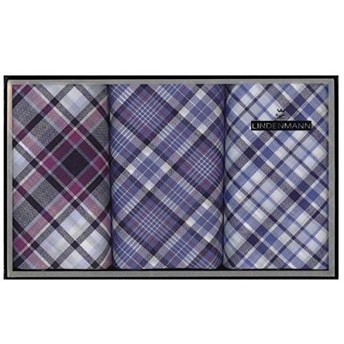 Lindenmann Handkerchiefs for men, 3-pack, grey-pink-blue, 50021-001