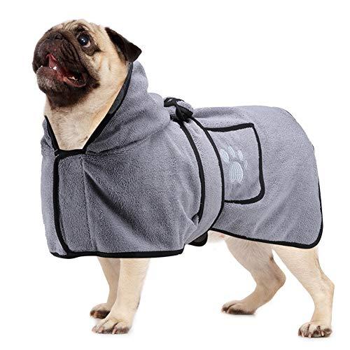 Vanansa Hundebademantel für kleine mittelgroße und große Hunde, Weicher Dryup Cape aus Mikrofaser, Schnell Trocknend Extra Saugfähig Komfortabel Anschmiegsam Bademantel (Grau, M)