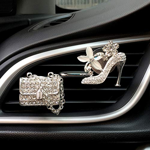 Bling Car Charm Air Vent Clips, Crystal Women Fashion Car Interior Accessories, Rhinestone Diamond Car Bling Decorations, Cute Automotive Interior Trim, Glam Car Decor (High Heel Shoe & Fashion Bag)