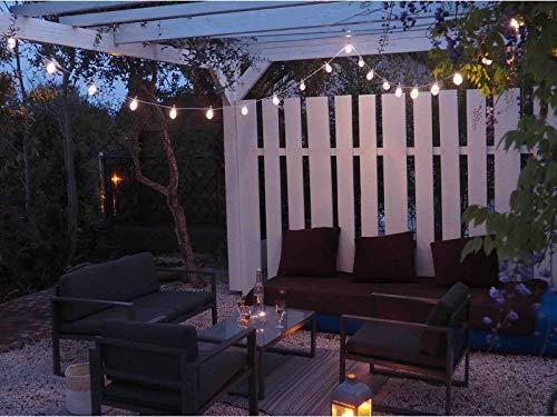 Guirnalda luminosa para exterior con 20 bombillas LED transparentes de color blanco cálido I 6 m de longitud I impermeable IP44 I decoración terraza y jardín y patio – ELUME: Amazon.es: Iluminación