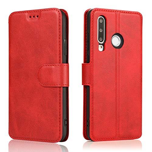 LeYi Hülle für Huawei P30 Lite / P30 Lite New Edition 2020 Mit HD Schutzfolie,Leder Handyhülle Stoßfest Wallet Magnet Schutzhülle Tasche Slim Silikon Bumper TPU Hülle für Handy P30 Lite Matt Rot