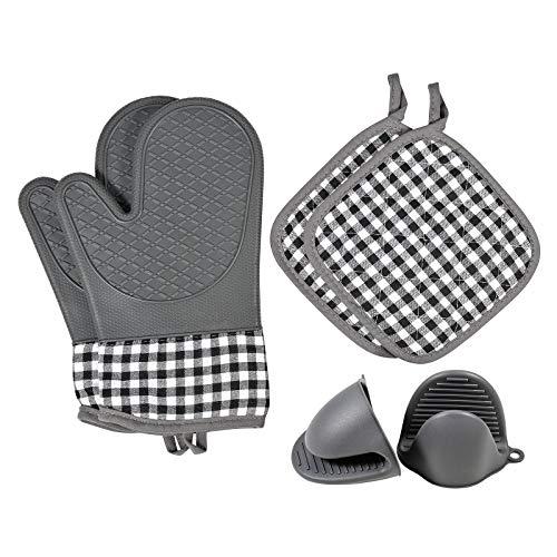 Yuemizi Silikon-Ofenhandschuhe und Topflappen und Koch Klemmgriffe, hitzebeständig bis 500°F-Ofenhandschuhe mit extra Isolierung und Komfort-sicherer Beweis für Kochen, Backen, Grillen und Mikrowelle