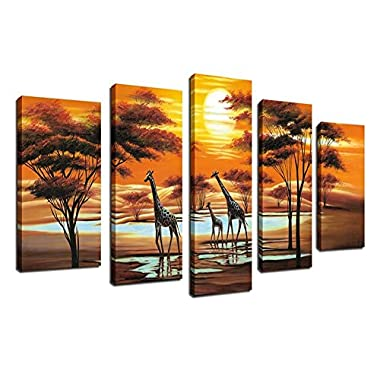 Canvas Wall Art African Abstract Painting 5 Piece Sunset Canvas Art Large Contemporary Painting Modern Artwork Ready to Hang for Living Room Bedroom Decoration