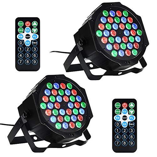 LED PAR,36W 36LEDs RGB 7 Beleuchtung Modi Disco Lichteffekte dj party Licht Bühnenbeleuchtung led scheinwerfer Fernbedienung DMX Steuerung Discolicht für DJ KTV Disco Party(2er Pack)