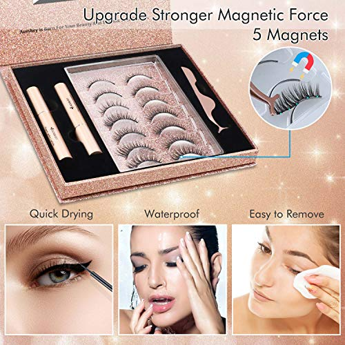 Magnetic Eyelashes with Eyeliner Kit, 7 Styles Reusable Upgraded 3D Magnetic Lashes with Magnetic Eyeliner, Faux Mink Magnetic Eyelashes with Portable mirror , Natural Look No Glue Needed