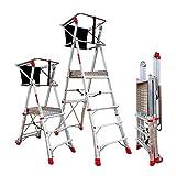 Faraone - Escalera con Plataforma PLS3 - 200x73x26 cm - Escalera 3 Peldaños - Escalera Plegable de Aluminio - Uso Profesional - Fácil de Transportar - con Ruedas - Amplio Plano de Trabajo