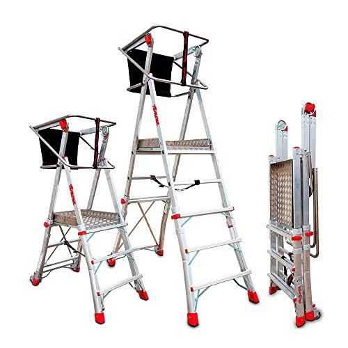 Faraone - Escalera con Plataforma PLS3-200x73x26 cm - Escalera 3 Peldaños - Escalera Plegable de Aluminio - Uso Profesional - Fácil de Transportar - Con ruedas - Amplio plano de trabajo