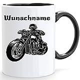 Beschdstoff Motorrad Tasse mit Personalisiert in weiß/Innen und Henkel ist schwarz mit Bild und...